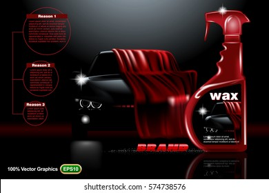 Front view Template mock up promotion with Black car covered on dark background, and wax Digital vector illustration