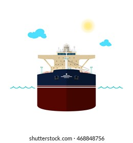Front View of the Vessel, Oil Tanker on White Background, International Freight Transportation, Vessel for the Transportation of Goods, Vector Illustration