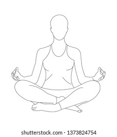 Front view of a woman meditating in half-lotus position.