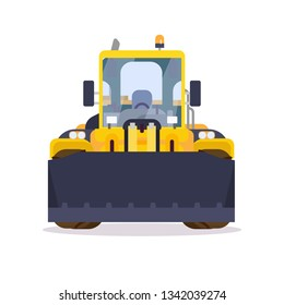 Front view of yellow bulldozer or wheel loader. Flat style vector illustration. Construction vehicle and quarry machinery banner. Modern excavator machine. Loader with front bucket, engine vehicle.