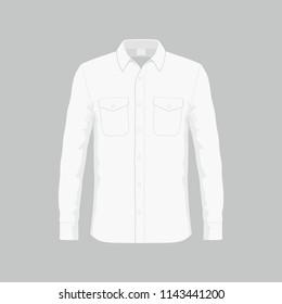 Front views of Men's white dress shirt on white background