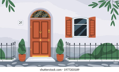 Front wooden door with knocker. Home exterior with arch doorway, porch, window with shutters, potted plants and fence. Dwelling house facade in retro style. Flat vector illustration
