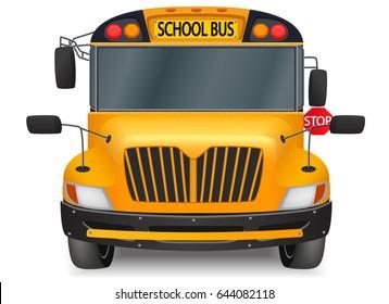 front yellow school bus graphic vector