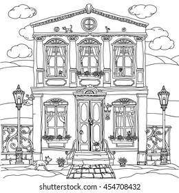 frontage of a house with flowers, plants, cat and dog for adult coloring book or for zen art therapy anti stress drawing. Hand-drawn, vector,very detailed, for coloring book, poster design, contoured