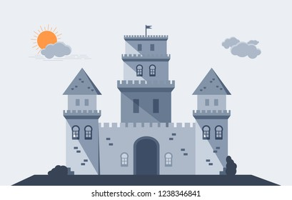 The frontal view of a castle.   The towers with crenels, roofs and a flag on top.