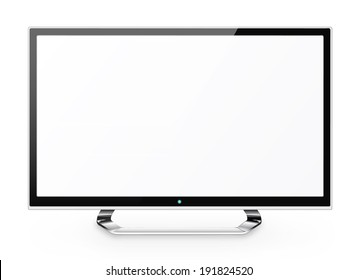 Frontal view of  led or lcd internet tv monitor isolated on white background