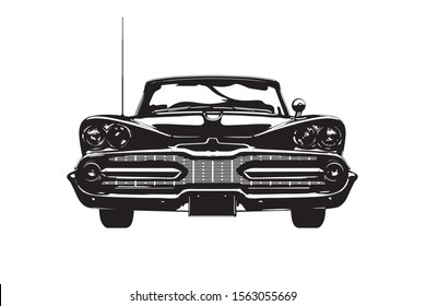 Frontal view of a vintage american car, late 1950s, silhouette vector illustration