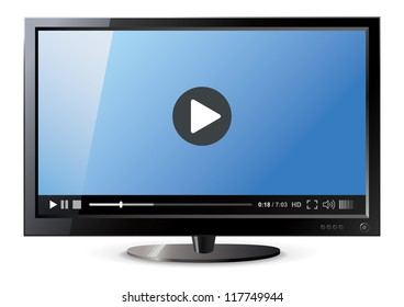 Frontal view of widescreen lcd monitor. Video player. Vector illustration