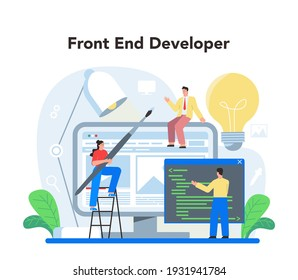 Frontend development concept. Website interface design improvement. Web page programming, coding and testing. IT profession. Isolated flat vector illustration
