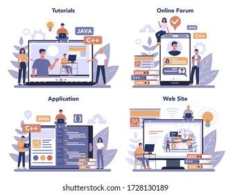 Frontend development online service or platform set. Website interface design improvement. Programming and coding. Online video tutorial, forum, website, application. Isolated flat vector illustration