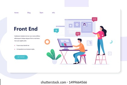 Frontend development web banner concept. Website interface design improvement. Developer looking at the graph. Isolated flat vector illustration