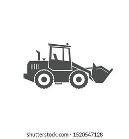 Front-end loader icon. Heavy machinery. Large transport equipment for work. Vector  illustration