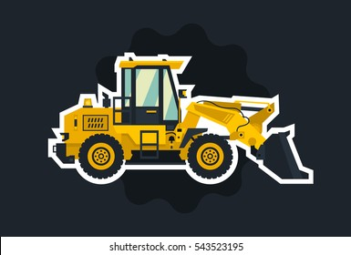 Front-end loader. The object circled white outline on a dark background.. Construction machinery. Flat style