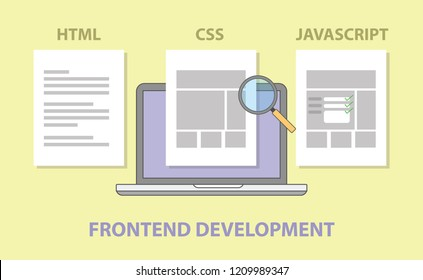 frontend website development compare comparison html css javascript vector illustration