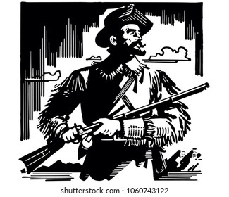 Frontiersman - Retro Clip Art Illustration