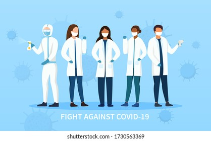 Frontline people in the Fight Against Covid-19 showing assorted health workers and a cleaner with sanitiser wearing face masks, colored vector illustration
