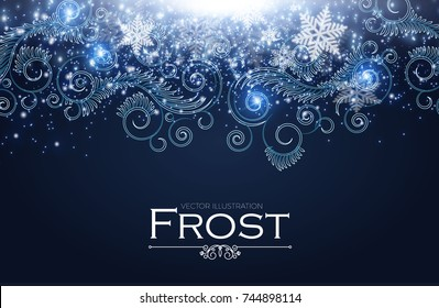 Frost Glass Pattern. Elegant Winter Background with Ice Swirls and Lights. Vector illustration