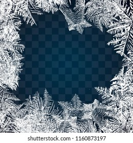 Frost glass pattern. Winter frame on transparent background. Vector christmas illustration. Frozen window ornament. Frame for Christmas card
