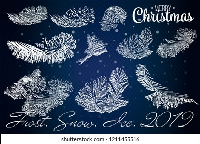Frost glass pattern. Winter frame on transparent background. Vector christmas illustration. 2019 white snowy frames for decoration. Vector