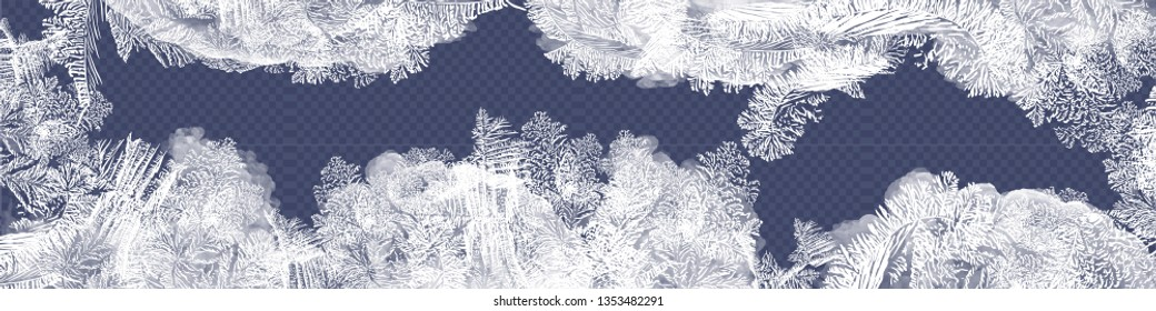 Frost glass pattern. Winter frame on transparent background. Vector christmas illustration. Vector transparent blue frost window. Eps8. RGB. Global colors