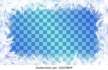 Frost glass pattern. Winter frame on transparent background. Vector christmas illustration.