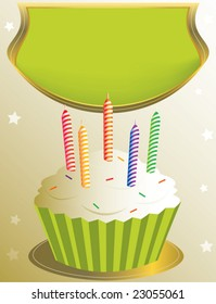 frosted birthday cupcake with placard - vector