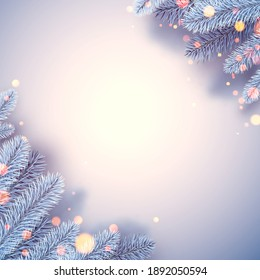 Frosted blue spruce branches in corners. Bokeh lights. For cards, posters. Vector illustration.