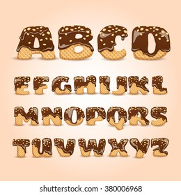 Frosted chocolate sprinkled waffles letters sweet alphabet dessert for kids pictograms collection  poster realistic abstract vector illustration