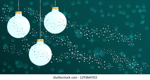 Frosted Christmas baubles on teal background