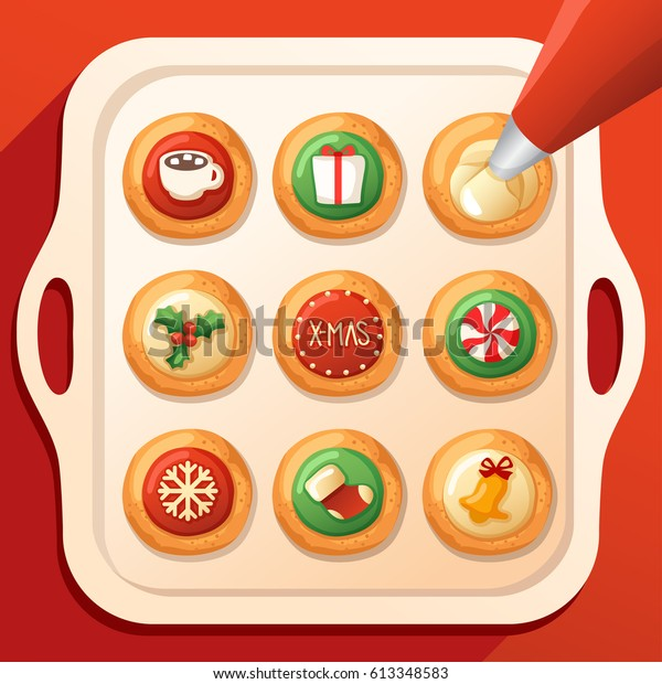 Frosted Sugar Cookies Cute Christmas Cookies Stock Vector Royalty