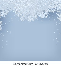 Frosty background. Hand drawn vector illustration of intricate frost pattern.