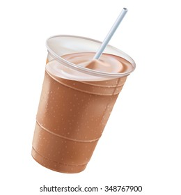 Frosty Drink. A chocolate milkshake in a clear plastic cup, tilted right,  with a white straw for sipping.