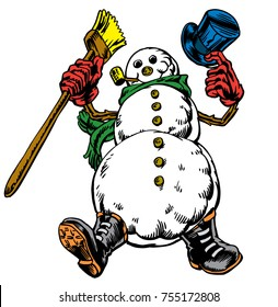 Frosty like Snowman tipping top hat and high stepping with a broom. He sports a scarf, gloves & boots with button eyes and a corn cob pipe. Great vector, isolated with movable limbs. Merry Christmas!