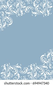 Frosty pattern. Lace border for decoration. Leaves, flowers and swirls. Floral design element. Winter background.