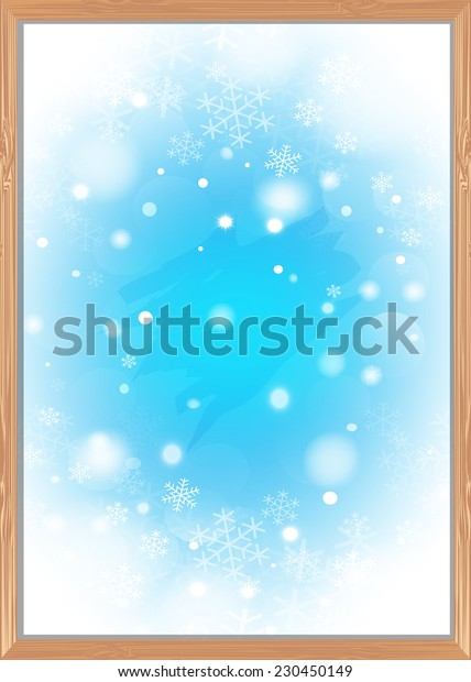Frosty patterns in the wooden windows. Vector EPS10.