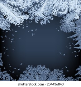 Frosty Window - background Hand drawn vector illustration of an intricate frost-work