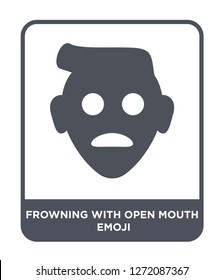 frowning with open mouth emoji icon vector on white background, frowning with open mouth emoji trendy filled icons from Emoji collection, frowning with open mouth emoji simple element illustration