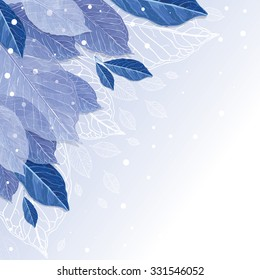 Frozen autumn leaves covered with snow, vector background. Winter is coming.