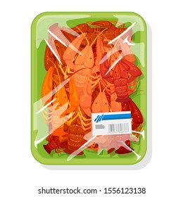 Frozen boiled red crayfishes are on green plastic tray covered with polyethylene food wrap with label. Prepared lobsters or crawfishes under clingfilm. Vector cartoon mockup isolated on white.