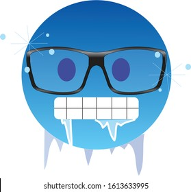 Frozen emoji in glasses. Icy-blue face nerd emoticon wearing glasses, with gritted teeth with icicles clinging to its jaw and lips - frozen from extreme cold. Ice glittering on its face skin.