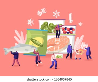 Frozen Food Concept. Tiny Male and Female Characters Buying and Cooking Natural Iced Products Fresh Vegetables, Fruits Meat and Fish. Healthy Eating, Conservation. Cartoon Flat Vector Illustration