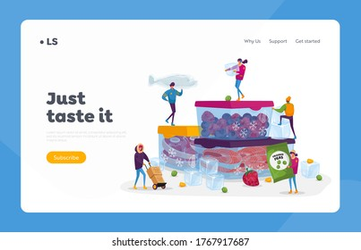 Frozen Food, Healthy Eating Landing Page Template. Tiny Male and Female Characters Buying and Cooking Natural Iced Products Fresh Vegetables, Fruits Meat and Fish. Cartoon People Vector Illustration