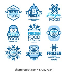Frozen food premium product set of logo templates hand drawn vector Illustrations