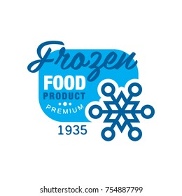 Frozen food product premium since 1935, sticker with snowflake sign vector Illustration