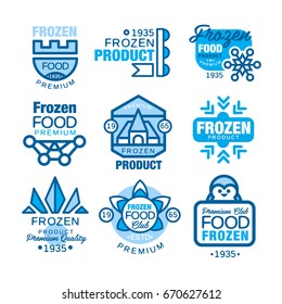 Frozen food product set of logo templates hand drawn vector Illustrations in blue colors