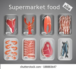 Frozen fresh fish and meat supermarket food in pack decorative elements vector illustration