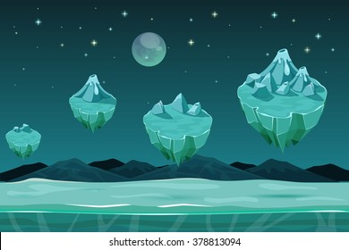 Frozen game planet horizontal background, pattern with ice islands. Nature landscape, winter design with snow. Vector illustration