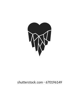 frozen heart icon vector isolated
