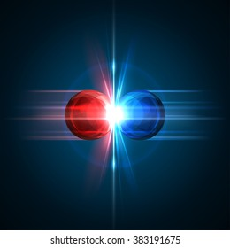 Frozen moment of two particles collision with red and blue light. Vector illustration. Explosion  concept. Abstract molecules impact on black background. Atomic Power. Nuclear reactions.
