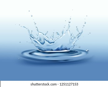 Frozen motion splash crown with droplets and waves on calm water surface realistic vector illustration. Pure drink freshwater source, clean environment and ecology concept Natural product presentation